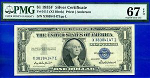 1935F  $1 Silver Certificate PMG 67 EPQ (XI block)  FR-1615