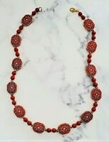 Vintage Asian Oriental Themed Rust Colored and Cream Beaded Necklace *EUC*