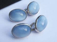 Antique Vintage Art Deco era Sterling Silver & Blue Glass Moonstone Cufflinks