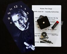 DIY Coffin Wall Clock Kit - 25.5cm High - Christopher Lee as Dracula - Wierd