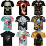 Fashion Funny Skull Pattern Short Sleeve 3D T-Shirt Men Women Black Casual Tops
