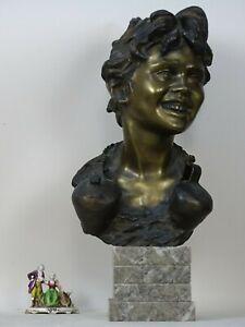 SCULTURA BUSTO BRONZO VINCENZO CINQUE 1800 LIBERTY scu GEMITO D' ORSI DE MARTINO