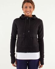 LULULEMON CARRY AND GO JACKET hoodie BLACK in french terry SIZE 4
