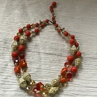 Vintage Plastic & Art Glass Orange & Goldtone Bead Double Strand Choker Necklace