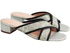 J Crew Glitter Sparkle Cora Crisscross Small Heeled Sandals Shoes Sz 8.5 NEW