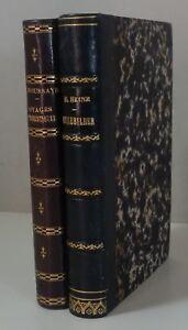 EO HEINE Reisebilder Ed Lecou 1853 + HOUSSAYE Voyages humoristiques reliure RARE