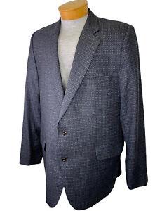 Jack Victor Wool Tweed Sport Coat Jacket Blazer 48L Luxor Classic Blue Gray  EUC
