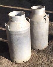 2x Vintage old aluminium milk churn