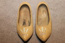 Original Pair of WW2 Free French Painted Wood Shoes, Sm Size 5-1/2'' in Length