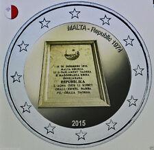 * LOT DE 5 PIÈCES -- 2 € COMM - UNC - MALTE 2015 - REPUBLIQUE 1974
