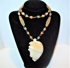 Vtg Carved Banded White Onyx Necklace Mexico Aztec Tribal Face Mask Leaf Beaded
