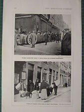 1915 WWI WW1 PRINT ~ REFUGEES LEAVING HOMES IN ANTWERP BEFORE BOMBARDMENT