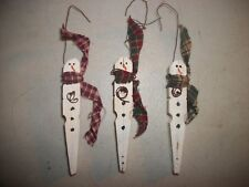 3 Clothes Pin Snowmen Christmas Tree Ornament Package Tag