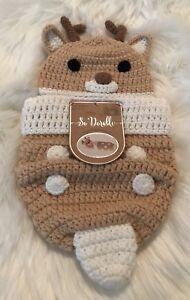 So Dorable Christmas Reindeer Hand Crocheted Set Newborn Photo Up To 10 lbs NEW