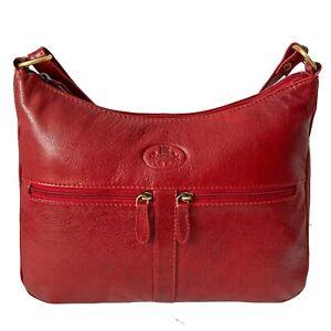 Rowallan Red Leather Handbag, Shoulder Bag, Cross Body Bag