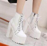 Women's Roman 15cm Block High Heel Platform Non-slip Ankle Boots Nightclub Punk