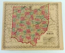 1855 JH Coltons Ohio State Atlas Map Railroad Lines No 39 Original Cleveland