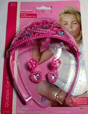 Girls Light Up Crown Tiara Earrings Pink Pretend Play Dress Up Princesses