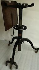 industrial Satellite Adjustable Table Co cast iron base Vtg drafting, typewriter