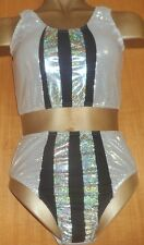 SILVER/BLACK/HOLOGRAM/LYCRA/CROP AND PANT/11/12 YEAR/FREESTYLE/COSTUME