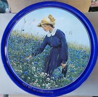 Vintage Round Tin Danish Butter Cookies Girl Flower Meadow