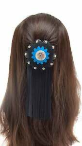 Black leather fringed Barrette - Turquoise hair clasp - Long Hair accessories
