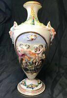 Vintage Capodimonte Vase Ornate Putti Mask & Odd Scenes Signed Italy 2255 M