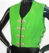 1990s lime green bondage and buckles leather vest