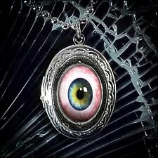 Human Taxidermy Eyeball Horror Halloween Locket Silver Glass Pendant Necklace