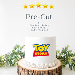 """PRE CUT 5"""" Toy Story Edible Icing Logo Blue Cake Topper Decorations Birthday"""