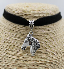 Horse Head Retro Silver Tone Pendant Elegant Women String Necklace 1 Piece #01