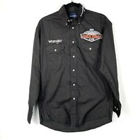 Wrangler Shirt Long Sleeve Size Medium Black PBR World Finals 2011 Rodeo Western