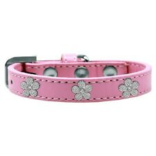 Mirage Pet Products Silver Flowers Widget Leather Dog Collar — Pick Size/Color