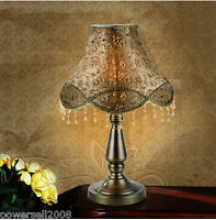 European Rural Style E27 Height 46CM Metal+Fabric Bedroom Bedside Table Lamp