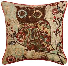 "2-Milo Owl Floral Branch 17""x17"" Tapestry Accent Decor Sofa Red Throw Pillow"