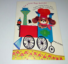 1971 Gibson Birthday Card Anthropomorphic Puppy Dog Train Engineer Railroad JJ