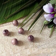 """5 Perles Bois Rondes Ø 15mm """"Vieux  Rose"""" - Trou 2,5 mm"""