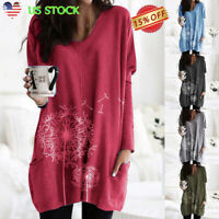 Womens Ladies Long Sleeve Floral Tops Tunic Casual Loose Pockets Pullover Blouse