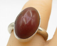 925 Sterling Silver - Vintage Cabochon Carnelian Oval Cocktail Ring Sz 5 - R9574
