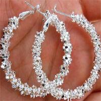 Lady Fashion Circle Earrings Jewelry Silver Plated Hoop Dangle Earring EW