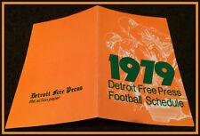 1979 DETROIT LIONS DETROIT FREE PRESS FOOTBALL POCKET SCHEDULE FREE SHIPPING