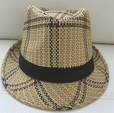 Punk Mens Straw Casual Fedora Trilby Cuban Style Upturn Short Brim Hat NWOT