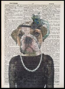 British Bulldog Print Vintage Dictionary Page Wall Art Picture Dog Animal Girl