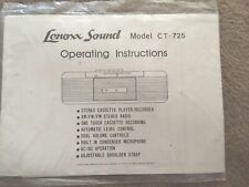 Lenoxx Sound Model CT-725 Operating Instructions only