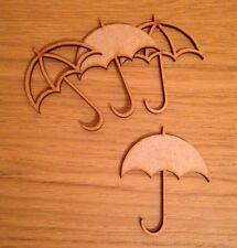 4 X Mixed Wooden Mdf umbrella 70 X 60 Mm Craft Shape Decoration