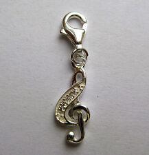 In argento sterling con gancio zircone cubico chiave di violino ciondolo