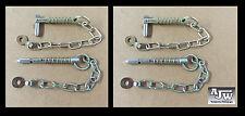 4 X SPADA Perno E Catena 9.5 mm x 63mm (parti rimorchio CHIAVETTA di serraggio LINCH pin, pin Lynch)