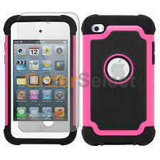 Hybrid Rugged Rubber Matte Case+Screen Guard for Apple iPod Touch 4 4th Gen Pink
