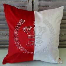 Crown Crest red and almond cushion cover with rhinestones