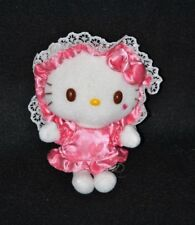 Peluche doudou chat blanc HELLO KITTY SANRIO robe rose coeur chapeau 12 cm TTBE